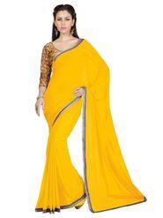 Designer Sareez Faux Georgette Embroidered Saree - Lemon Yellow - 1614