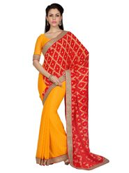 Designer Sareez Faux Georgette Jacquard Embroidered Saree - Yellow & Red - 1636