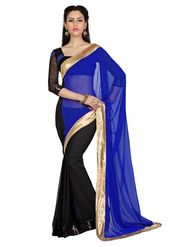 Designer Sareez Chiffon Embroidered Saree - Blue & Black - 1648
