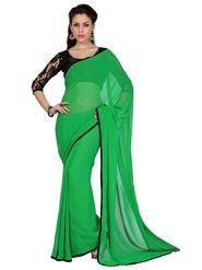 Designer Sareez Chiffon Embroidered Saree - Green - 1721