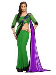 Designer Sareez Faux georgette Embroidered Saree - Green and Purple