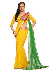 Designer Sareez Faux georgette Embroidered Saree - Yellow and Green