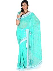 Designersareez Embroidery Chiffon Saree - Turquoise-1214