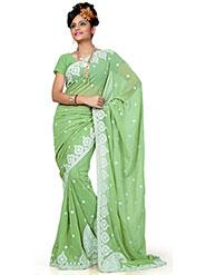 Designer Sareez Embroidered Faux Georgette Saree - Green-626