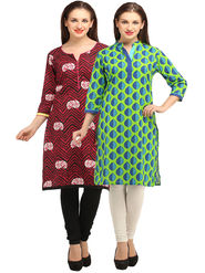 Pack of 2 Branded Cotton Printed Kurti -ewsk13
