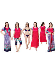 Pack of 6 Fasense Floral Print, Solid Satin Nightwear -Fa062B