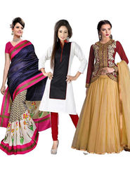 Combo Of 3 Fabfiza Printed Bhagalpuri Saree Plain PolyCotton Kurti & Embroidered Net Lehenga -fb03