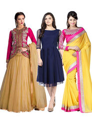 Combo Of 3 Fabfiza Embroidered Net Lehenga Georgette Saree & Plain Georgette Kurti-fb04