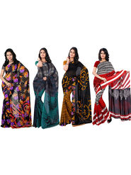 Pack of 4 Florence Printed Faux Georgette Sarees fs08