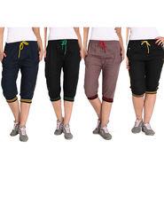Combo of 4 Comfort Fit Cotton Capris for Women_pf12