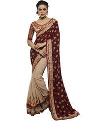 Bahubali Silk Jacquard Embroidered Saree - Maroon