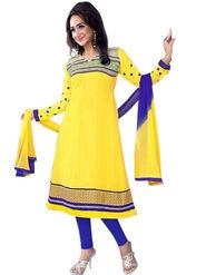 Florence Chiffon Embroidered Semi Stitched Anarkali Suits - Yellow - SB-2136