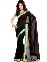 Florence Georgette Embriodered Saree - Black - FL-10164