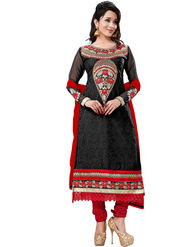 Florence Georgette  Embroidered Dress Material - Black - SB-1839