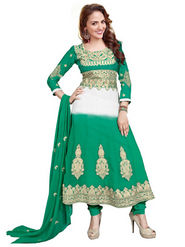 Florence Georgette  Embroidered Dress Material - Green - SB-1861