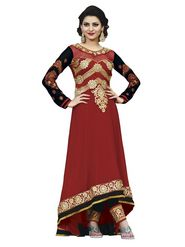 Florence Georgette  Embroidered Dress Material - Maroon - SB-1971