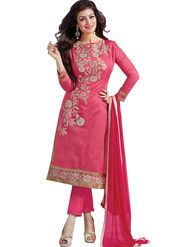 Florence Cotton Embroidered Dress Material - Pink - SB-2813