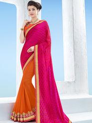 Indian Women Embroidered Jacquard & Georgette Magenta & Orange Designer Saree -Ga20516