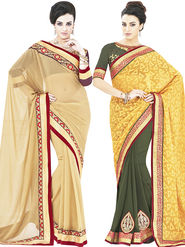 Pack of 2 Indian Women Embroidered Jacquard & Georgette  Designer saree -oct09