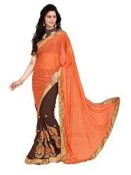 Khushali Fashion Embroidered Georgette Half & Half Saree_KF30
