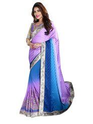 Khushali Fashion Embroidered Georgette Half & Half Saree_KF55