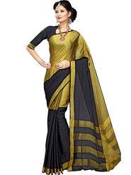 Shonaya Plain Cotton Art Silk Black & Gold Saree -Hikbr-1015