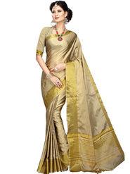 Shonaya Plain Cotton Art Silk Beige & Gold Saree -Hikbr-1016