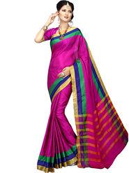 Shonaya Plain Cotton Art Silk Pink Saree -Hikbr-1017