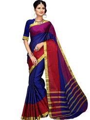 Shonaya Plain Cotton Art Silk Blue Saree -Hikbr-1043