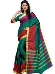 Shonaya Plain Cotton Art Silk Green Saree -Hikbr-1045