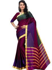 Shonaya Plain Cotton Art Silk Purple Saree -Hikbr-1046