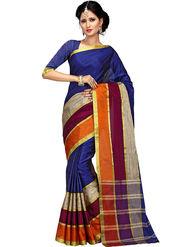 Shonaya Plain Cotton Art Silk Blue Saree -Hikbr-1054