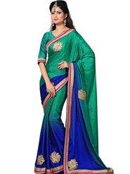 Shonaya Embroidered Crepe Jacquard Green & Blue Saree -Hikbr-3002