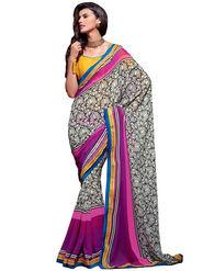 Inddus Georgette Embroidered Saree - Multicolour - IND-RZ-1110