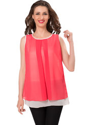 Ishin Georgette Solid Top - Red_INDWT-5029