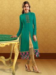 Ishin Georgette embroidered  kurti - Green-ASHR-DOLLY