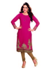 Ishin Faux Georgette Embroidered Kurti - Red-ASHR-Naavya