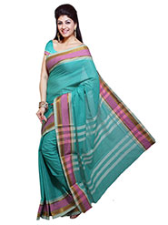 Ishin Printed Cotton Saree - Green-SNGM-982