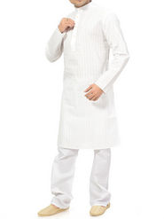 Ishin Cotton Plain Kurta Pajama For Men_indsh-107 - White