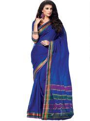 Ishin Cotton Plain Saree - Blue - MFCS-Chhaya