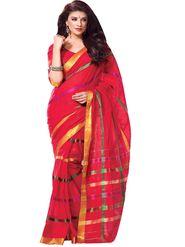 Ishin Cotton Plain Saree - Red - MFCS-Khushbu