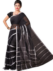 Ishin Cotton Printed Saree - Black - SNGM-2449