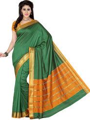 Ishin Polyester Printed Saree - Green - STCS-2131