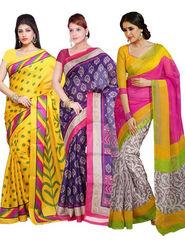 Combo of 3 Ishin Bhagalpuri Silk Printed Saree - Combo-382
