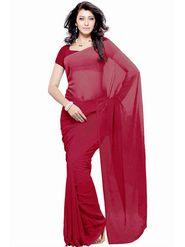 Khushali Fashion Georgette Plain Saree(Maroon)_JAZZ549