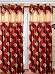 Set of 2 JBG Fancy Lace Check design Door Curtains - Maroon & Cream- JBG429