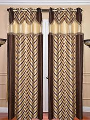 Set Of 2 JBG Fancy Lace V Design Door Curtains - Brown & Cream - 12427884