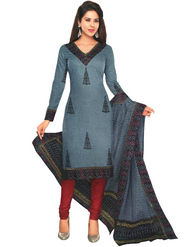 Javuli 100% pure Cotton Printed  Dress material - Grey - shree-new206