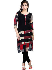 Arisha Crepe Printed Kurti KRT6089-Blk-Red