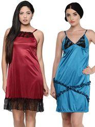 Set of 2 Klamotten Satin Solid Nightwear - X03-60